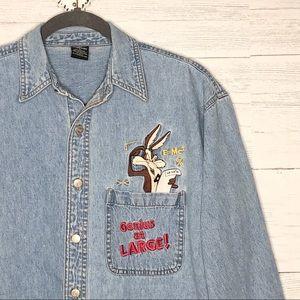VTG Looney Toons Wile E Coyote denim shirt
